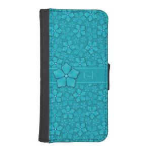 Blue Flowers pattern iPhone SE/5/5s Wallet Case