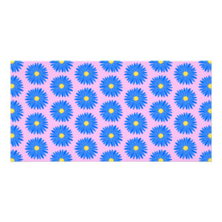 Blue flowers pattern on pink. photo greeting card