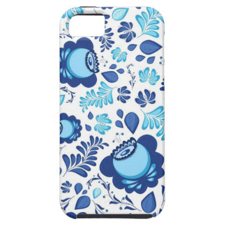 Blue flowers pattern on white background iPhone 5 case