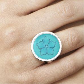 Blue Flowers pattern Photo Ring