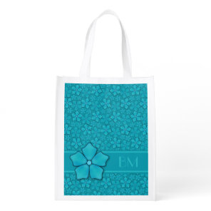 Blue Flowers pattern Reusable Grocery Bag