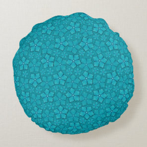Blue Flowers pattern Round Pillow