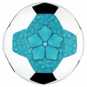 Blue Flowers pattern Soccer Ball