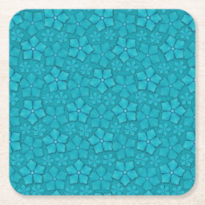 Blue Flowers pattern Square Paper Coaster