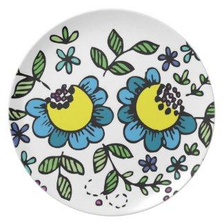 Blue flowers plate floral design