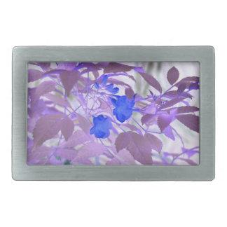 blue flowers purple leaves inverted image belt buckle
