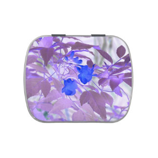 blue flowers purple leaves inverted image jelly belly tins