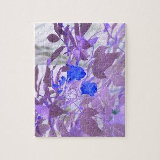 blue flowers purple leaves inverted image jigsaw puzzle