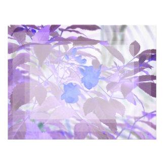blue flowers purple leaves inverted image letterhead