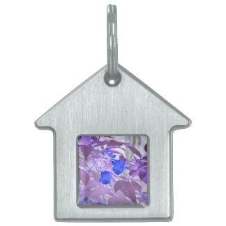 blue flowers purple leaves inverted image pet ID tag
