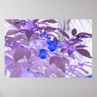 blue flowers purple leaves inverted image print
