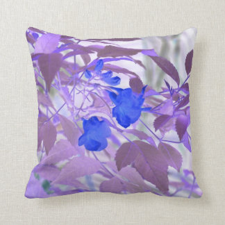 blue flowers purple leaves inverted image throw pillow