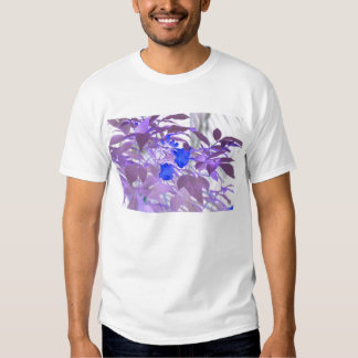blue flowers purple leaves inverted image tshirt
