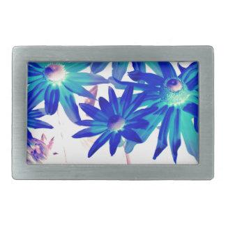 Blue flowers rectangular belt buckle
