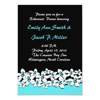 Blue Flowers Rehersal Dinner Invitations