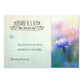 blue flowers romantic rustic wedding RSVP Card