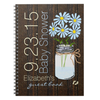 Blue Flowers Rustic Country Guest Book Notebook