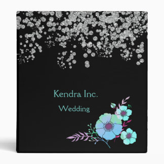 Blue Flowers & Silver Glam Wedding or Business 3 Ring Binder