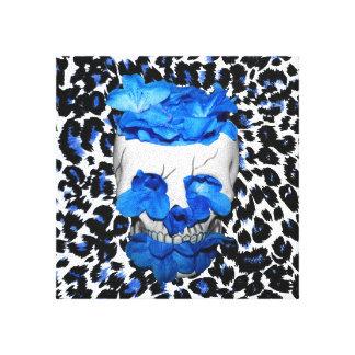 Blue Flowers Skull On Leopard Print