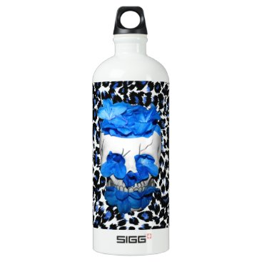 Halloween Themed Blue Flowers Skull On Leopard Print Aluminum Water Bottle