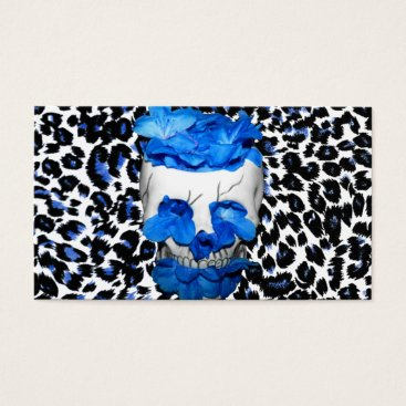 Halloween Themed Blue Flowers Skull On Leopard Print Business Card