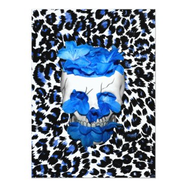 Halloween Themed Blue Flowers Skull On Leopard Print Card