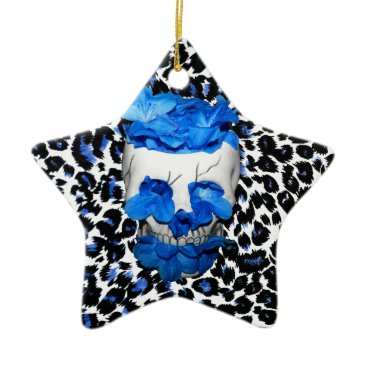 Halloween Themed Blue Flowers Skull On Leopard Print Ceramic Ornament