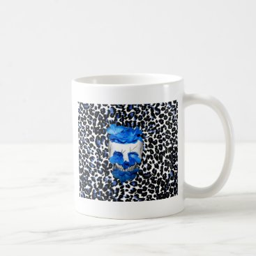 Halloween Themed Blue Flowers Skull On Leopard Print Coffee Mug