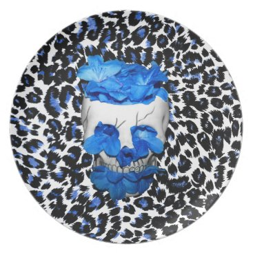 Halloween Themed Blue Flowers Skull On Leopard Print Dinner Plate