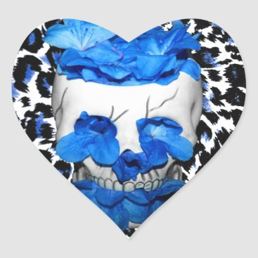 Halloween Themed Blue Flowers Skull On Leopard Print Heart Sticker