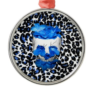 Halloween Themed Blue Flowers Skull On Leopard Print Metal Ornament