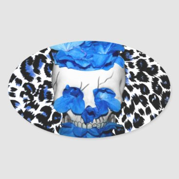 Halloween Themed Blue Flowers Skull On Leopard Print Oval Sticker