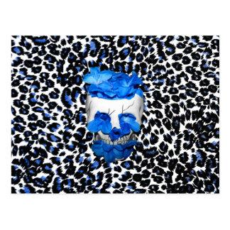 Blue Flowers Skull On Leopard Print Post Card