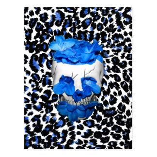 Blue Flowers Skull On Leopard Print Postcard