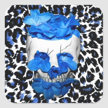 Halloween Themed Blue Flowers Skull On Leopard Print Square Sticker