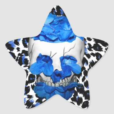 Halloween Themed Blue Flowers Skull On Leopard Print Star Sticker