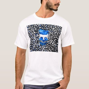 Halloween Themed Blue Flowers Skull On Leopard Print T-Shirt