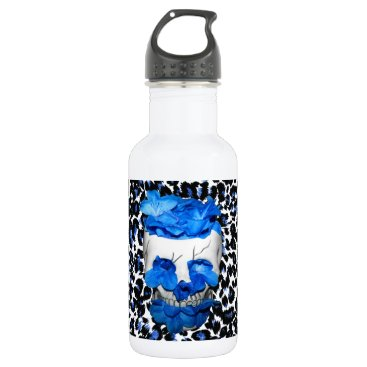 Halloween Themed Blue Flowers Skull On Leopard Print Water Bottle