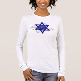 Blue Flowers Star of David Long Sleeve T-Shirt