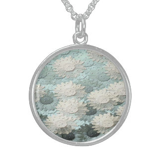 Blue Flowers Sterling Silver Necklace