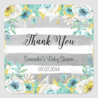 Blue Flowers Thank You Stickers