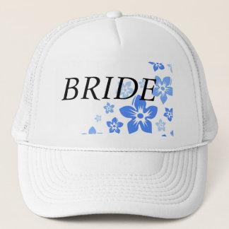 blue flowers trucker hat
