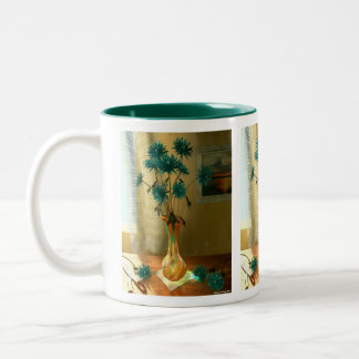 Blue Flowers Two-Tone Coffee Mug
