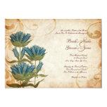 """Blue Flowers Vintage Wedding Invitations 5"""" X 7"""" Invitation Card"""