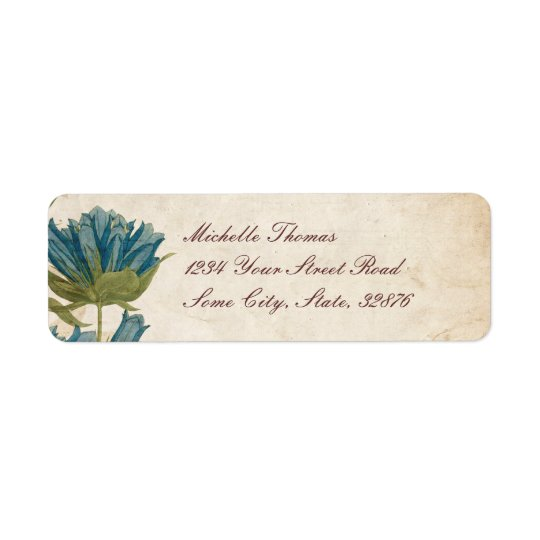 Blue Flowers Vintage Wedding Label