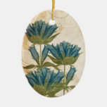 Blue Flowers Vintage Wedding Christmas Tree Ornaments
