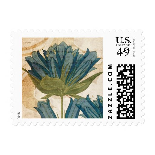 Blue Flowers Vintage Wedding Postage Stamp