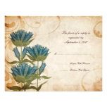 Blue Flowers Vintage Wedding RSVP Personalized Invitations