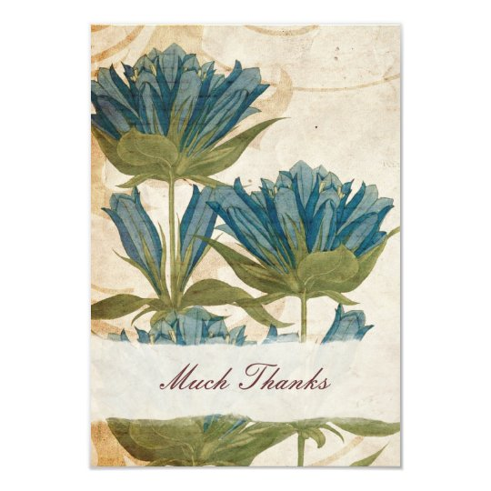 Blue Flowers Vintage Wedding Thank You Note Card