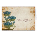 Blue Flowers Vintage Wedding Thank You Note Greeting Cards